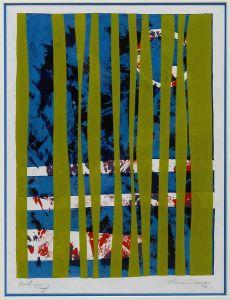 1974 San Til Barred Green Silk Screen Print On Paper