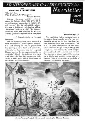 1999 - 4 Apr - Stanthorpe Art Gallery Society Newsletter 1240x900
