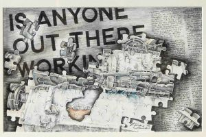 1982 Is Anyone Out There Working Coloured Crayon Drawing