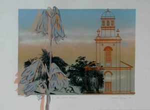1989 In The Church Grounds Silk Screen Print On Rag Paper