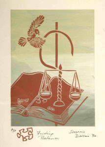 1990 Finding Balance Silk Screen Print On Rag Paper