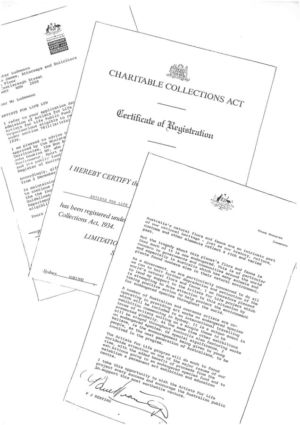 1995 - Charitable Collections Act - Cert Of Registration 1240x900